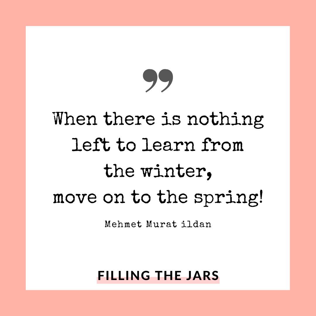 Mehmet Murat ildan move on to spring quote on white background over peach