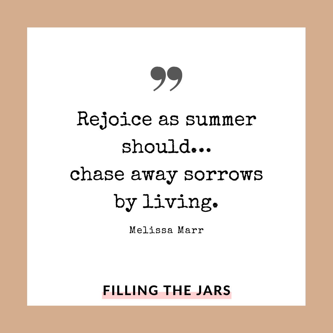 Melissa Marr summer quote on white background over beige