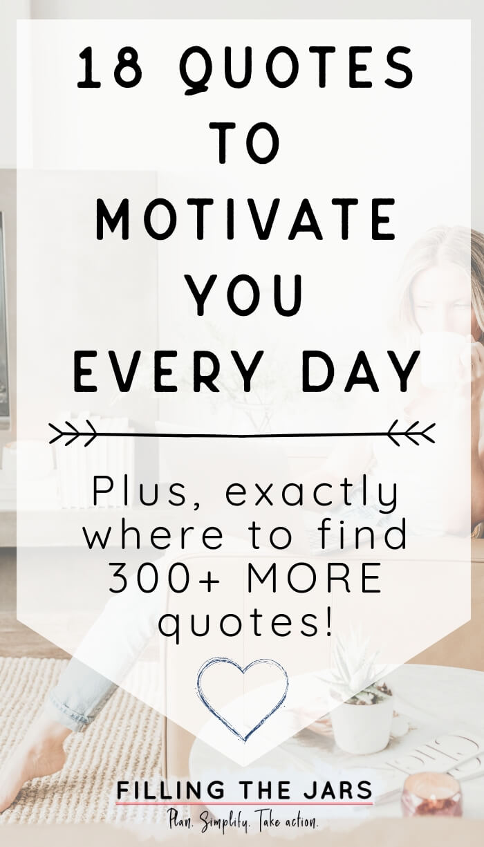 woman sitting on couch drinking coffee while browsing laptop with white overlay and text quotes to motivate you