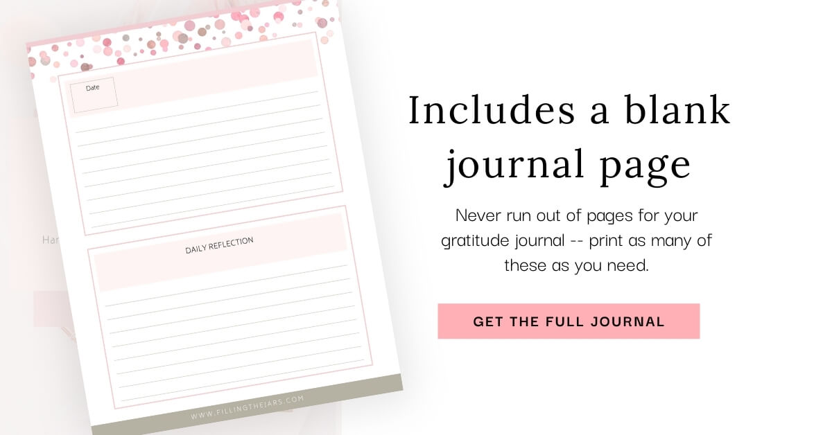 image of blank gratitude journaling page on white background with text never run out of pages