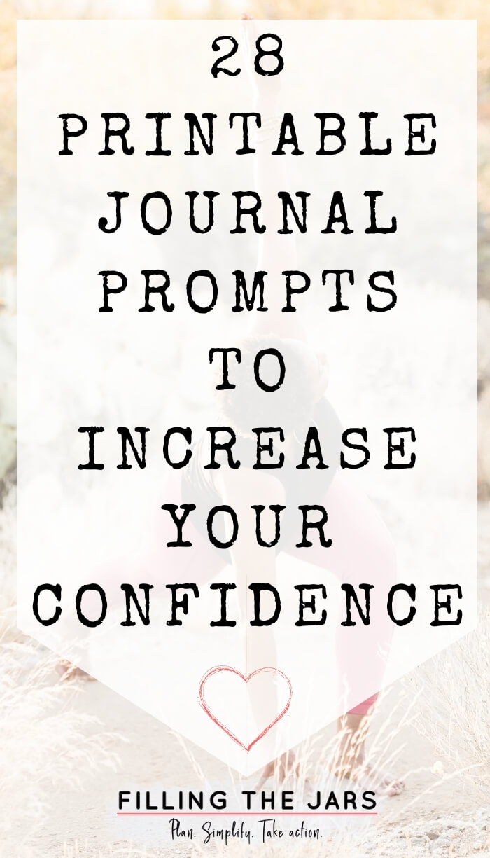 text journal prompts to increase confidence on white background over image of woman doing power yoga in desert