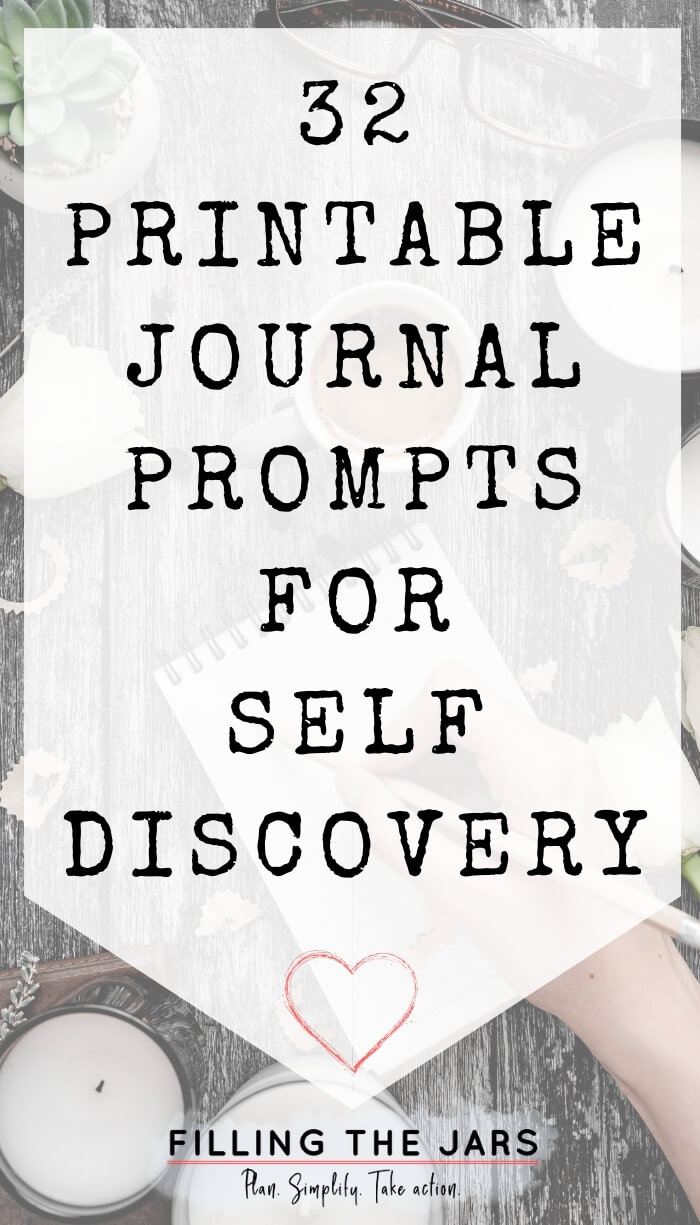 text printable journal prompts for self discovery on white background over image of female hand writing in notebook