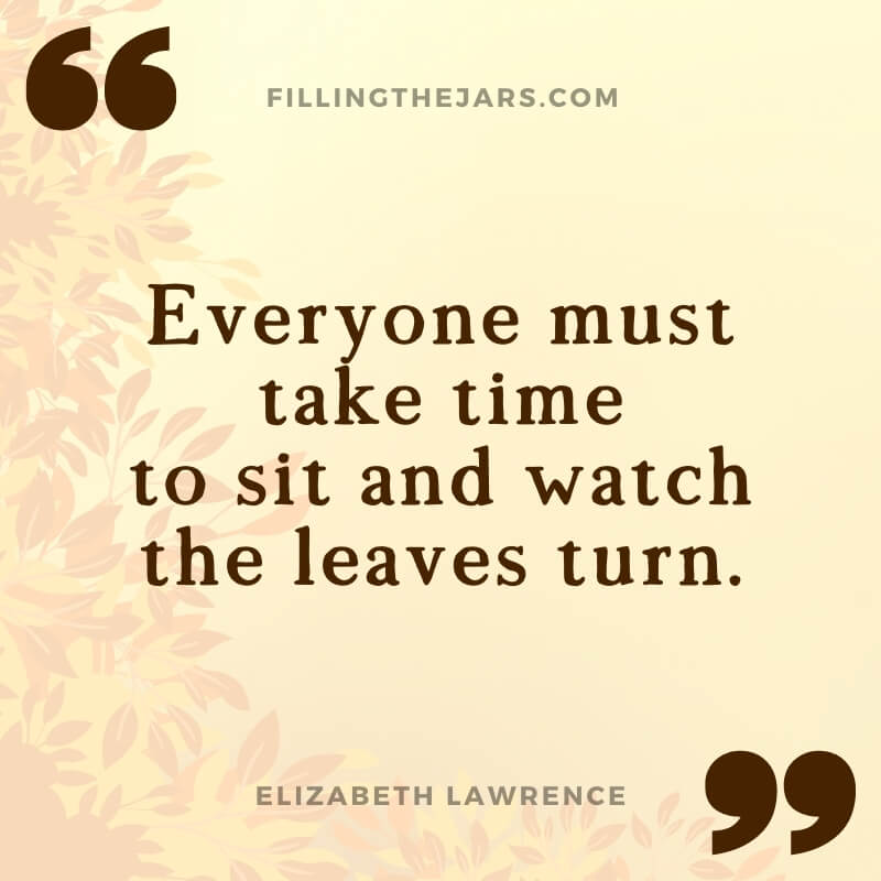 Elizabeth Lawrence watch the leaves turn quote on beige background over autumn leaves border