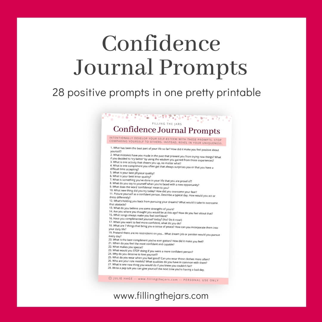 image of printable confidence journal prompts page on white background with dark pink border and title text