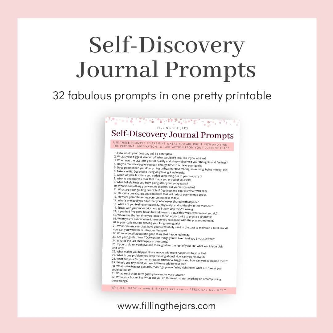 image of printable self-discovery journal prompts on white background with title text and pink border