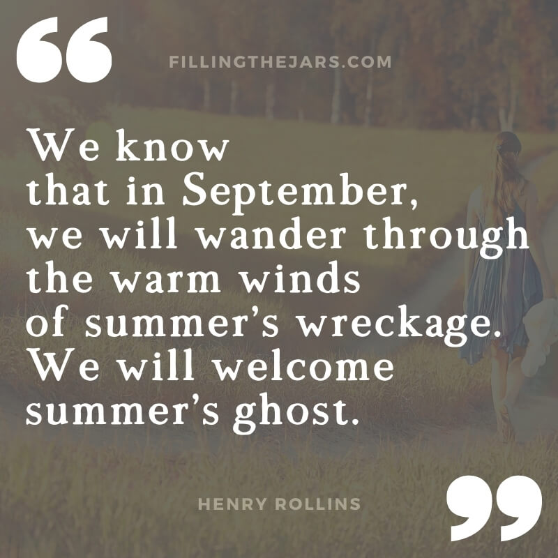 Henry Rollins september wandering through warm winds quote on dark background of woman in grassy field