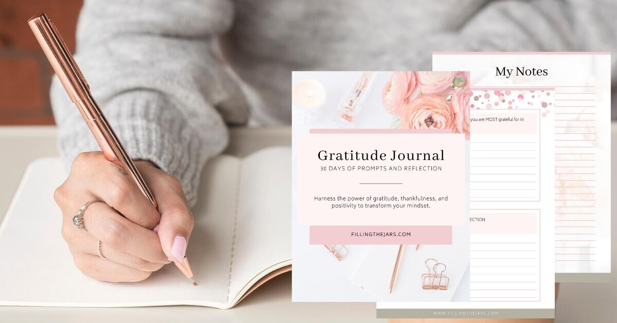 woman wearing gray sweater writing in journal with rose gold pen and overlay of 3 pages from printable gratitude journal