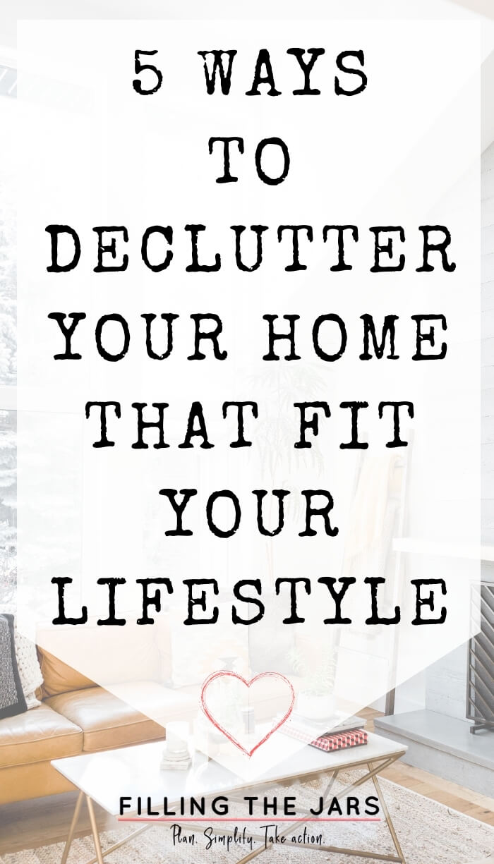 text ways to declutter on white background over image of tidy living room