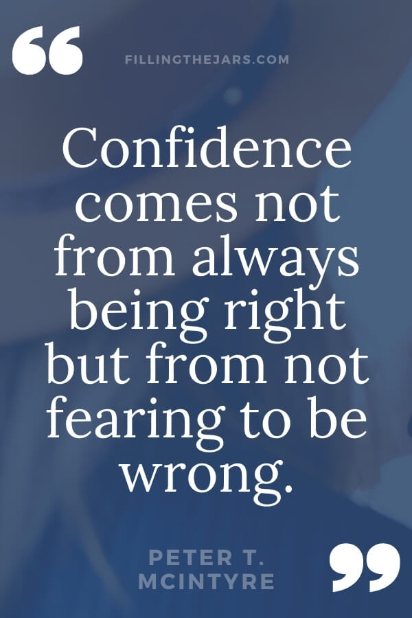 Peter McIntyre confidence quote in white text on blue background