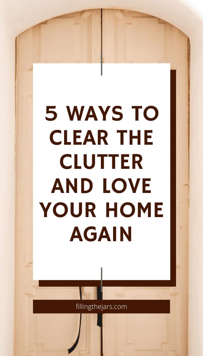 text ways to clear clutter on white background over image of beautiful double front doors