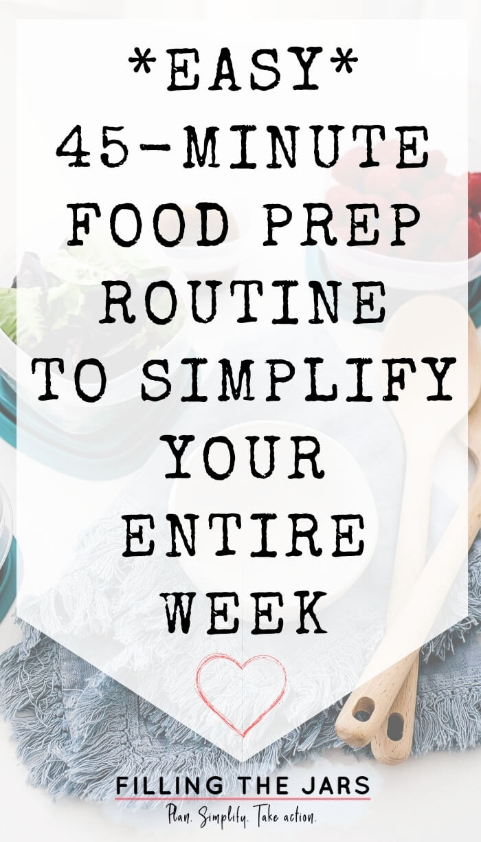 text easy food prep routine on white background over image of prepared food next to white bowl and wood utensils on blue towel