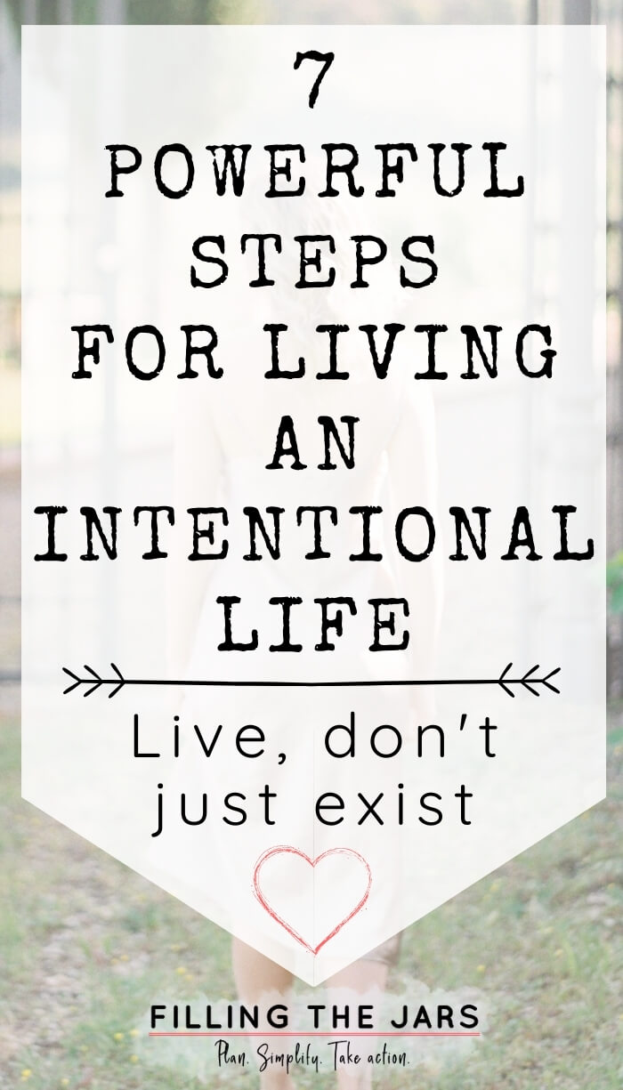 text steps for living an intentional life on white background over faded image of woman walking toward iron gate