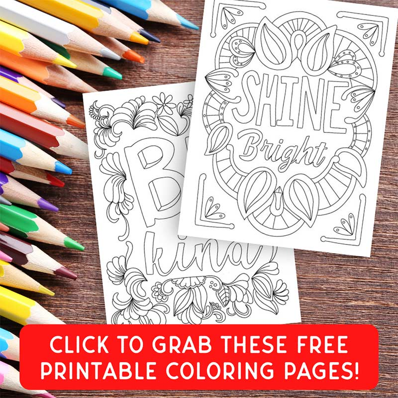 white text and coloring page images on wood background with colored pencils and red button