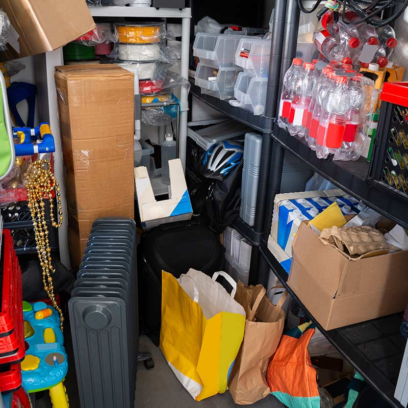 cluttered storage space too messy to move