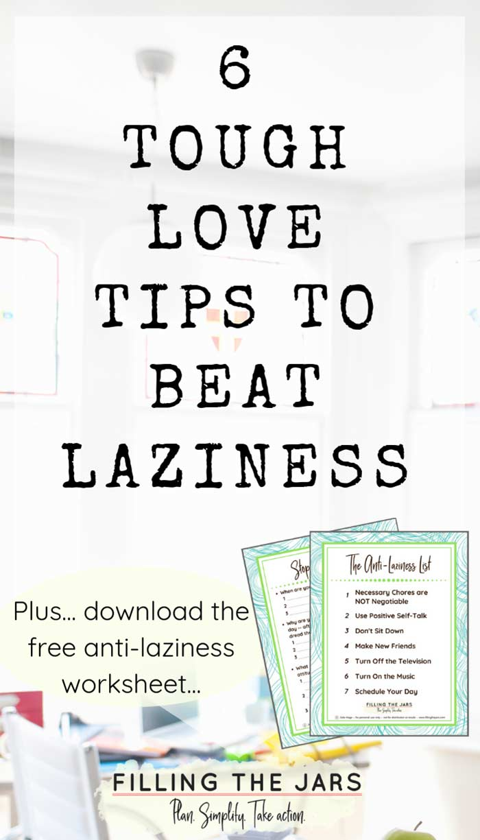 text tips to beat laziness on white background above image preview of anti-laziness worksheets