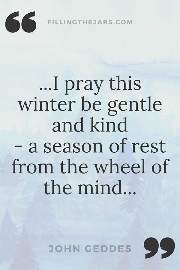 John Geddes season of rest quote on pale blue winter seasonal background