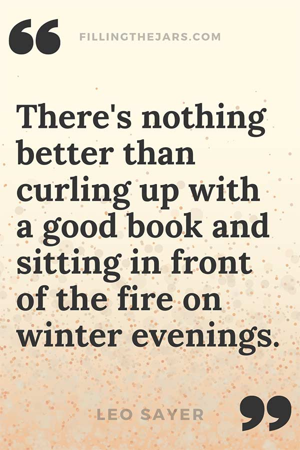 Leo Sayer winter evenings quote on background resembling winter fire sparks