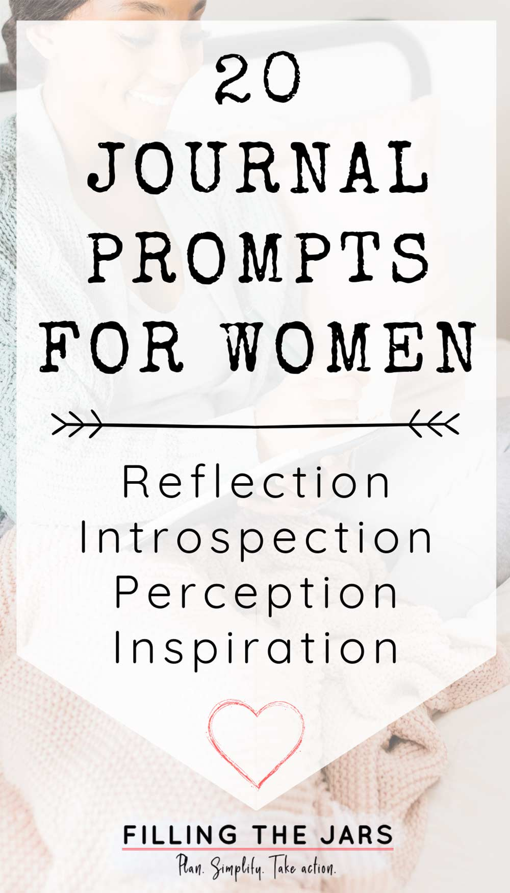 journal prompts for women text on white background over image of woman sitting on bed and writing in journal