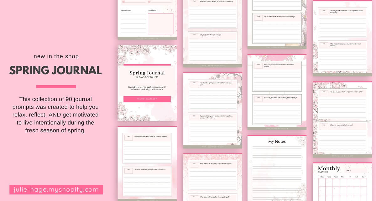 Printable spring journal page layout on pink background.
