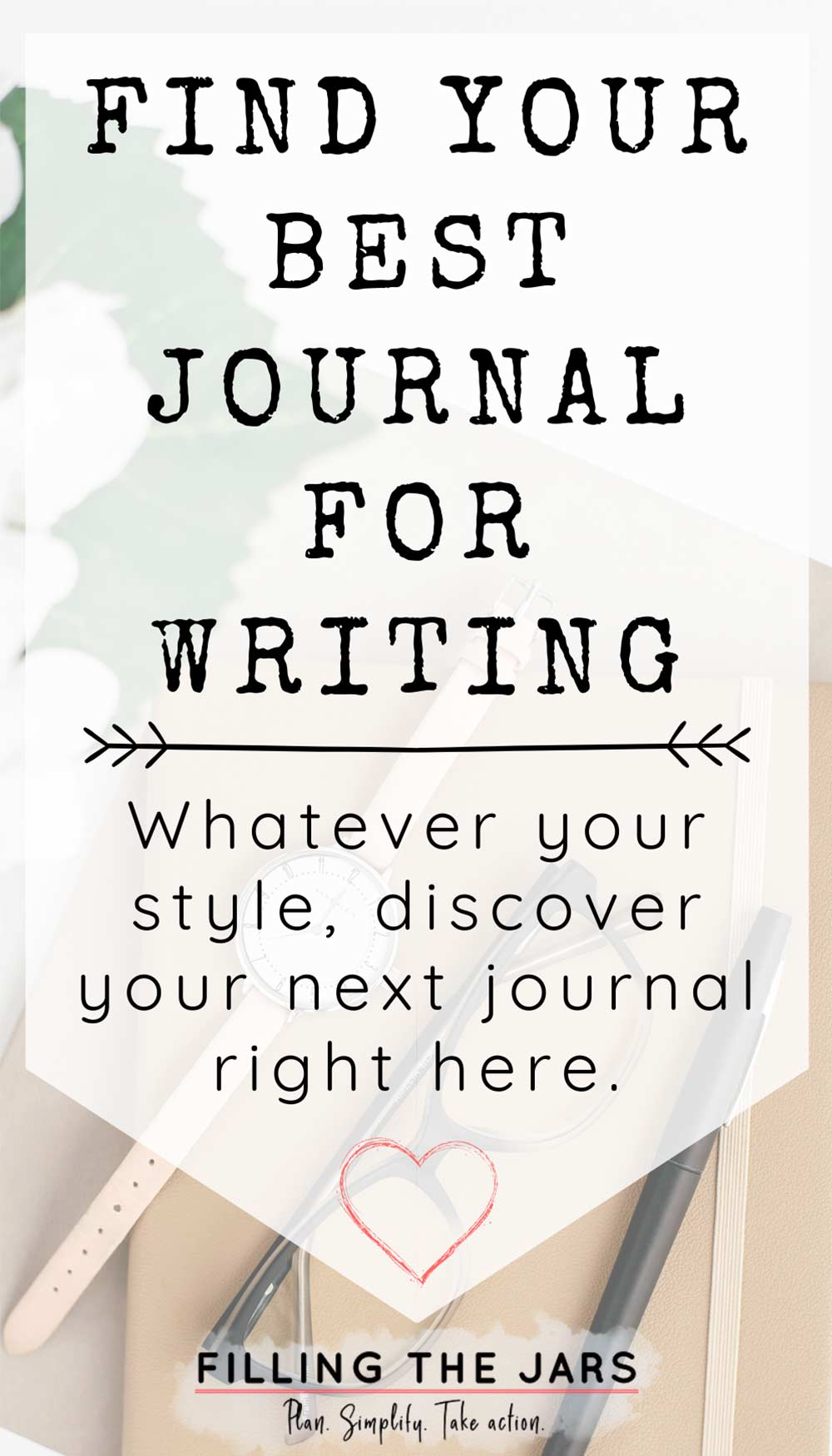 Text find your best journals for writing on white background over image of journal and personal items.