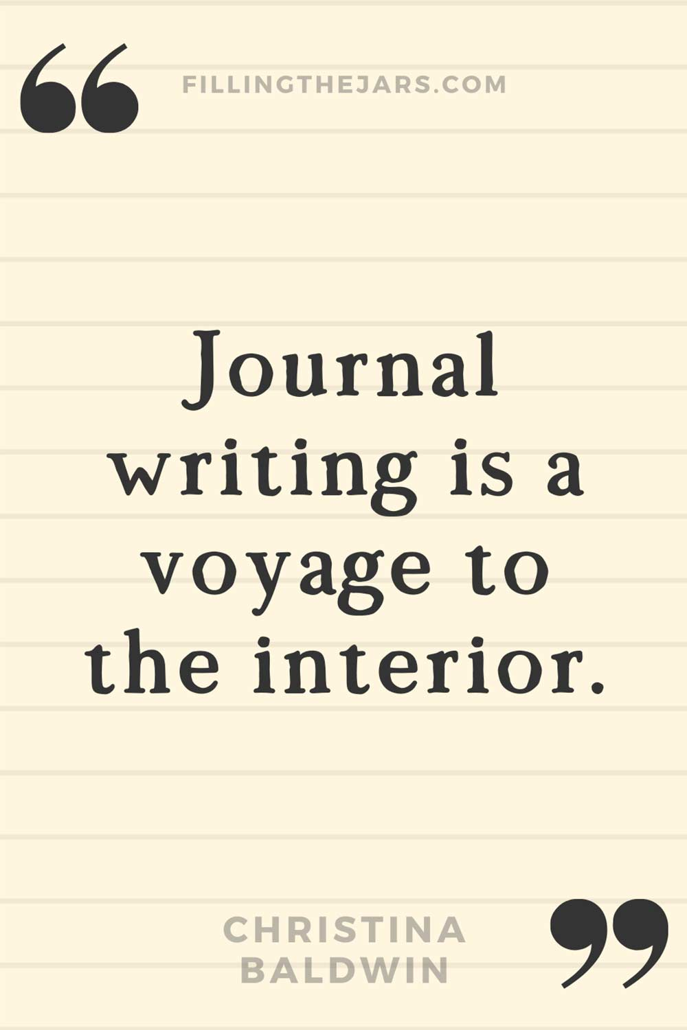 Christina Baldwin quote 'Journal writing is a voyage to the interior.' on lightly lined background.