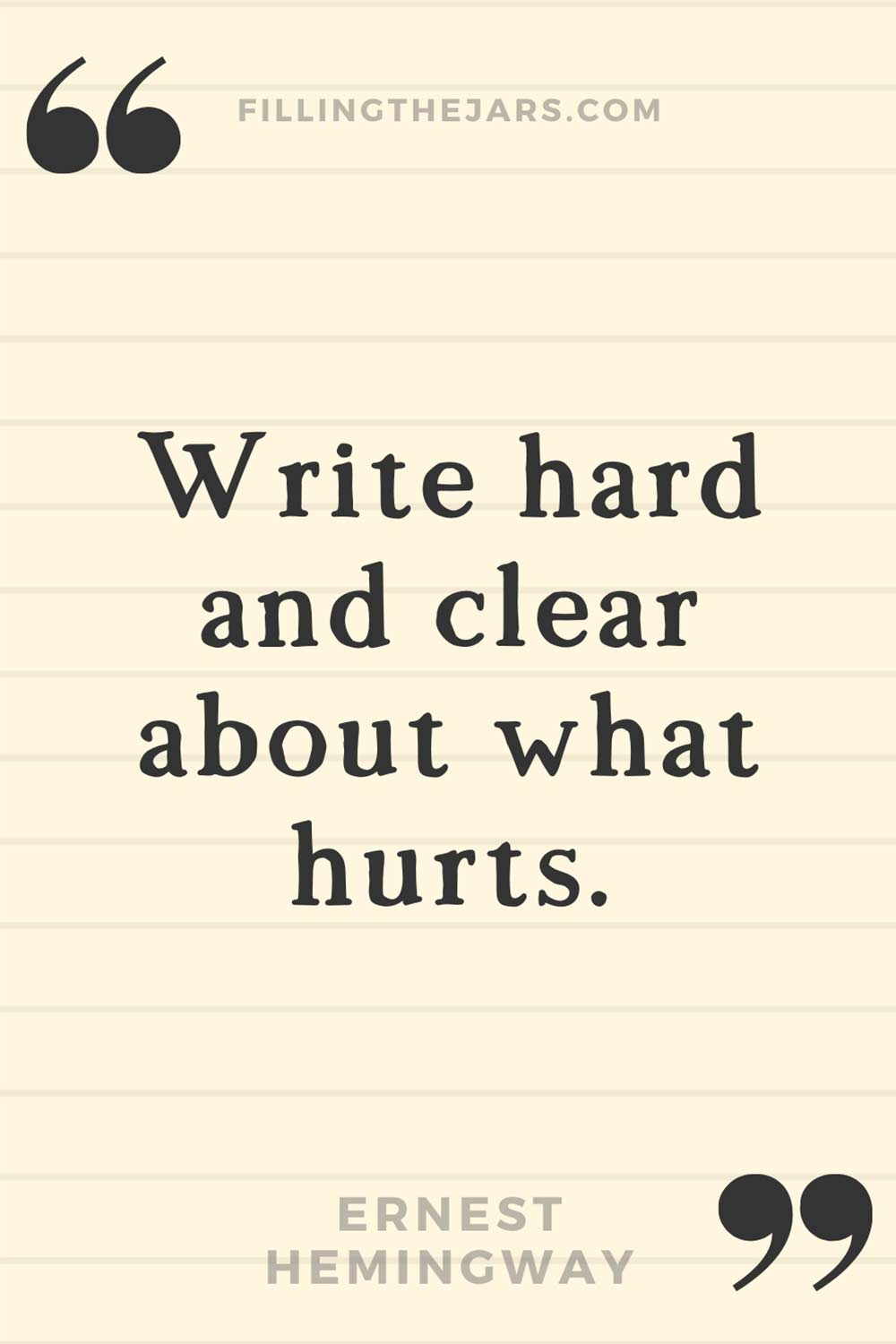 Ernest Hemingway quote 'Write hard and clear about what hurts.' on lightly lined background.