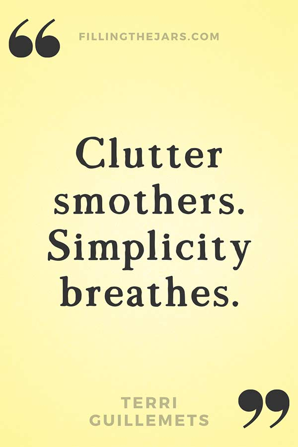 Terri Guillemets quote clutter smothers in black text on yellow background.