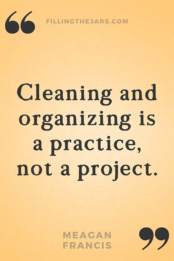 Meagan Francis cleaning and organizing quote in black text on orange background.