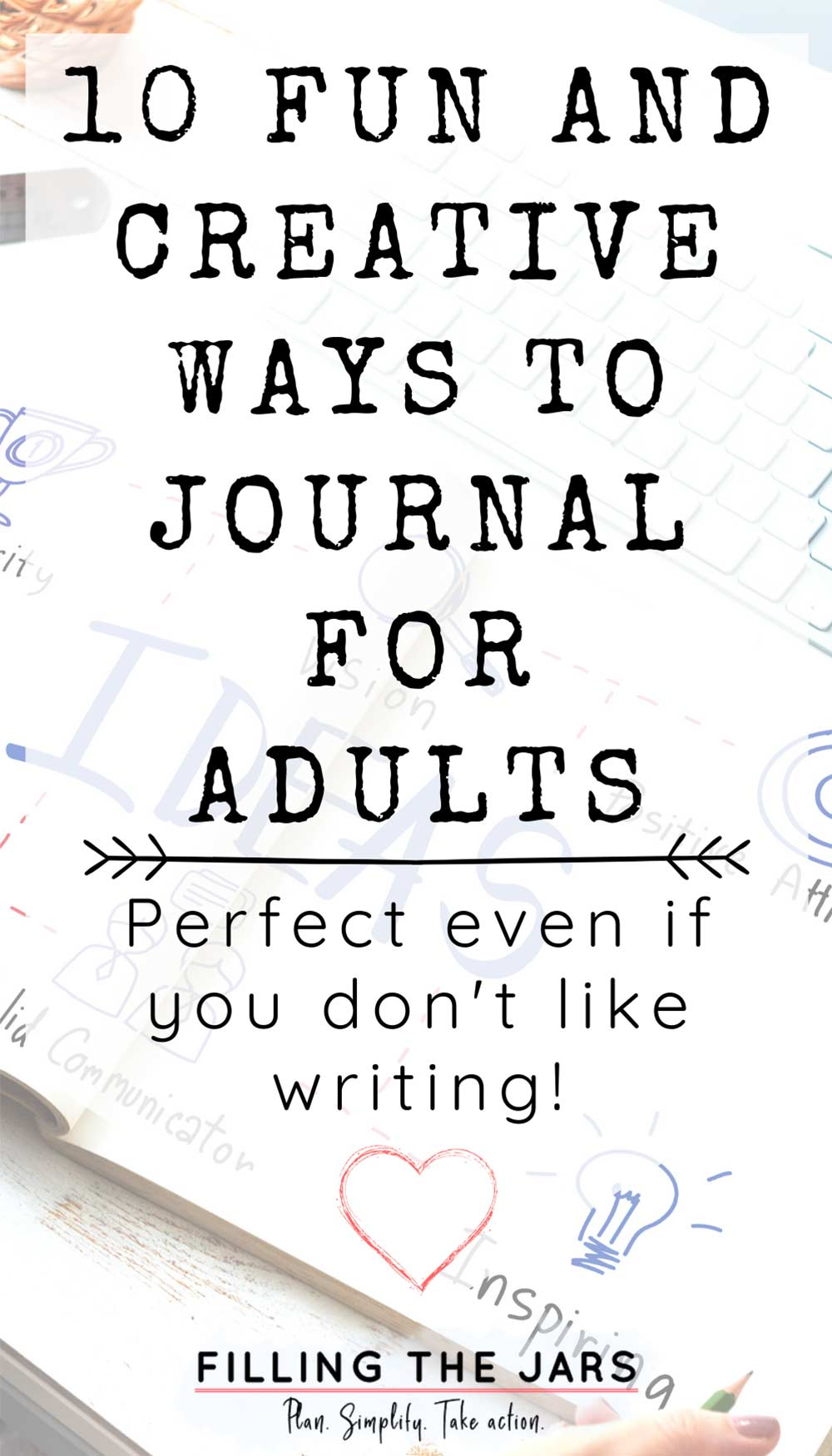 Text creative ways to journal for adults on white background over image of female hand working on mind map journal.