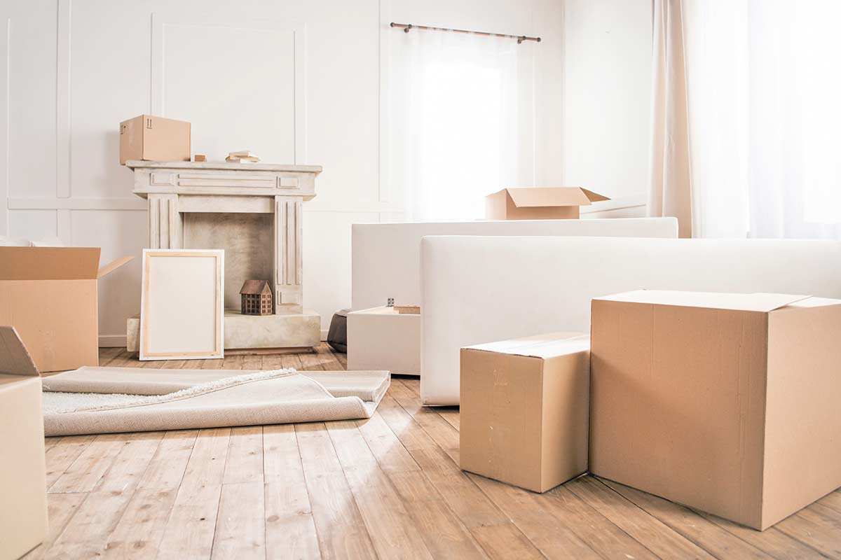 White living room with packing boxes and miscellaneous decor scattered over rustic wood floor.
