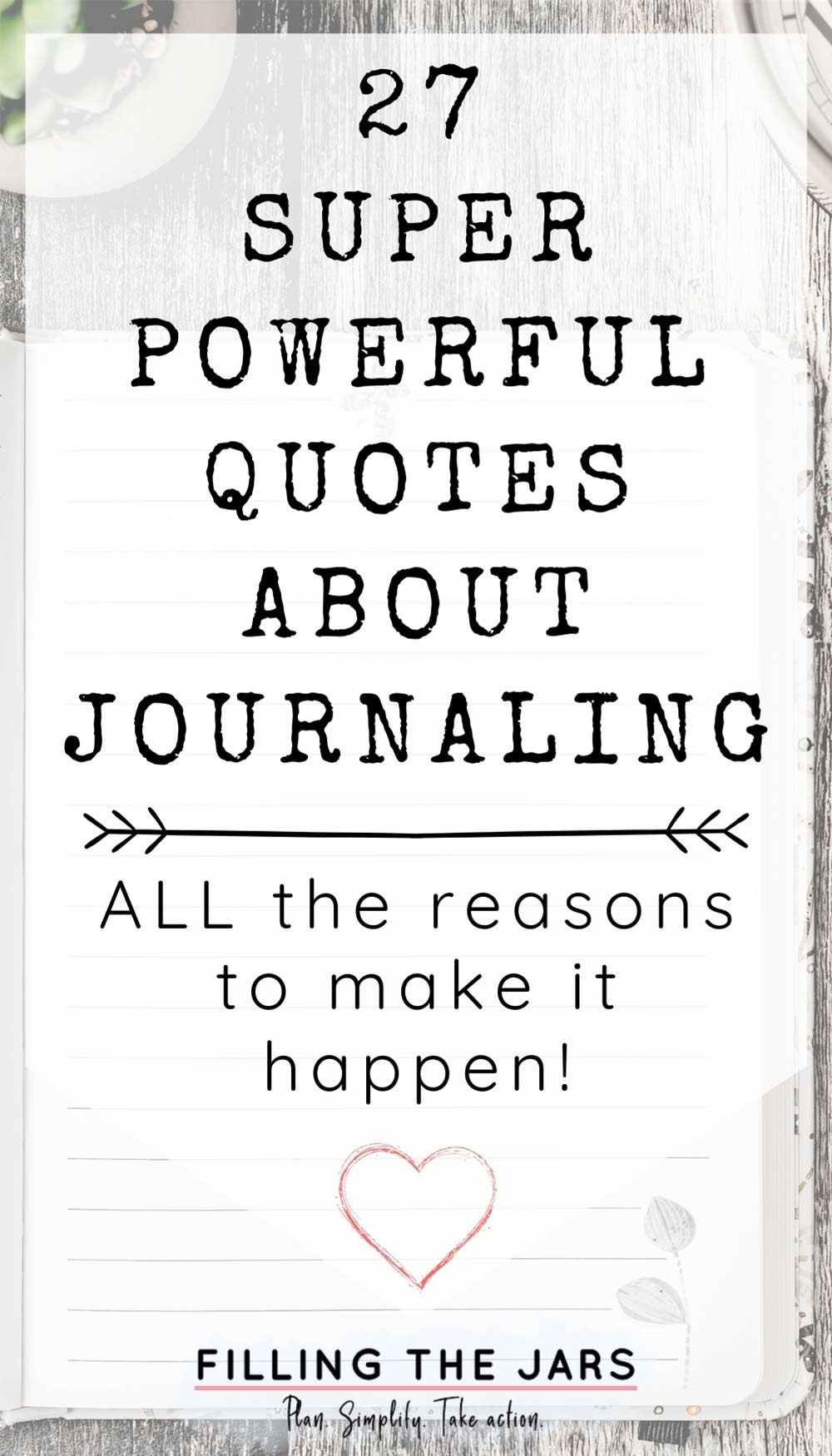 Text powerful quotes about journaling on white background over image of open lined journal on rustic wood table.