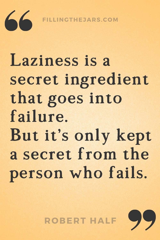 Robert Half laziness is failure quote on orange background.