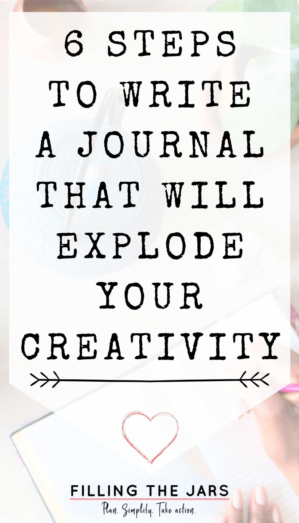 Text steps to write a creative journal on white background over image of woman doing creative journaling at white table next to teapot, teacup, and succulent plant.
