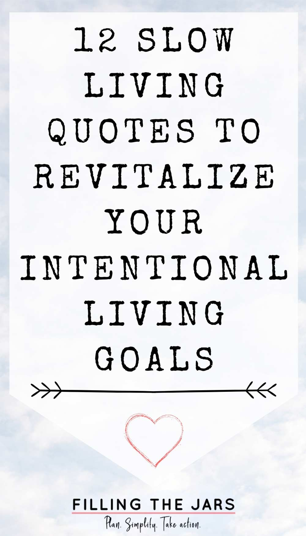Text slow living quotes to revitalize your intentional living goals on white background over image of fluffy white clouds against blue sky.