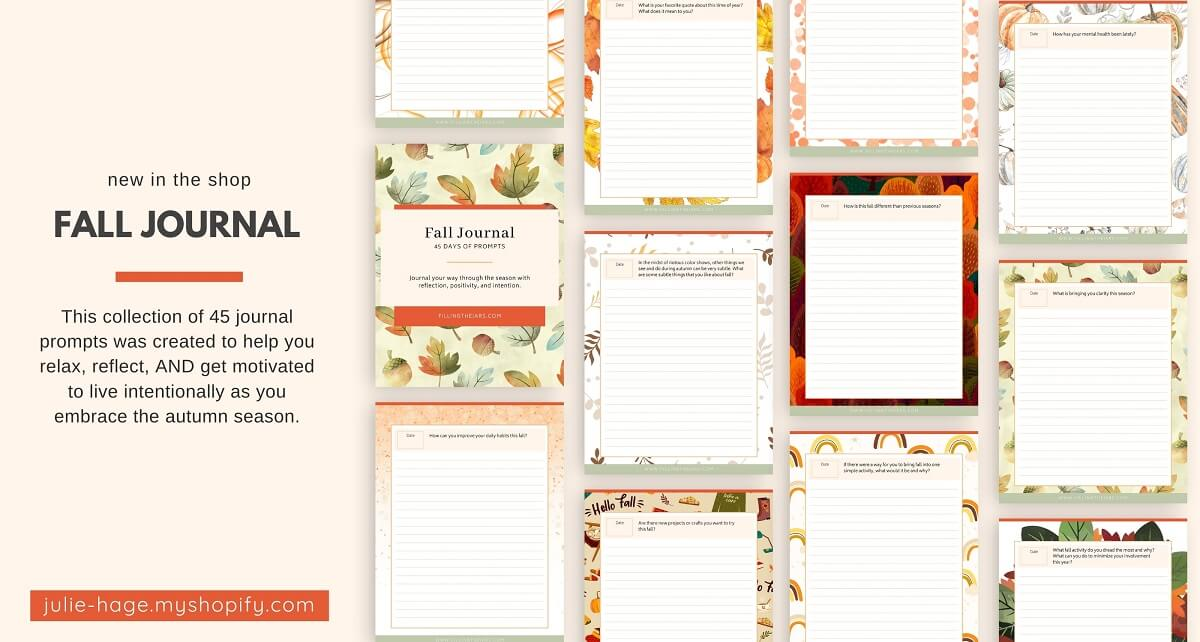 Partial layout of fall journaling pages from Filling the Jars on peach background.