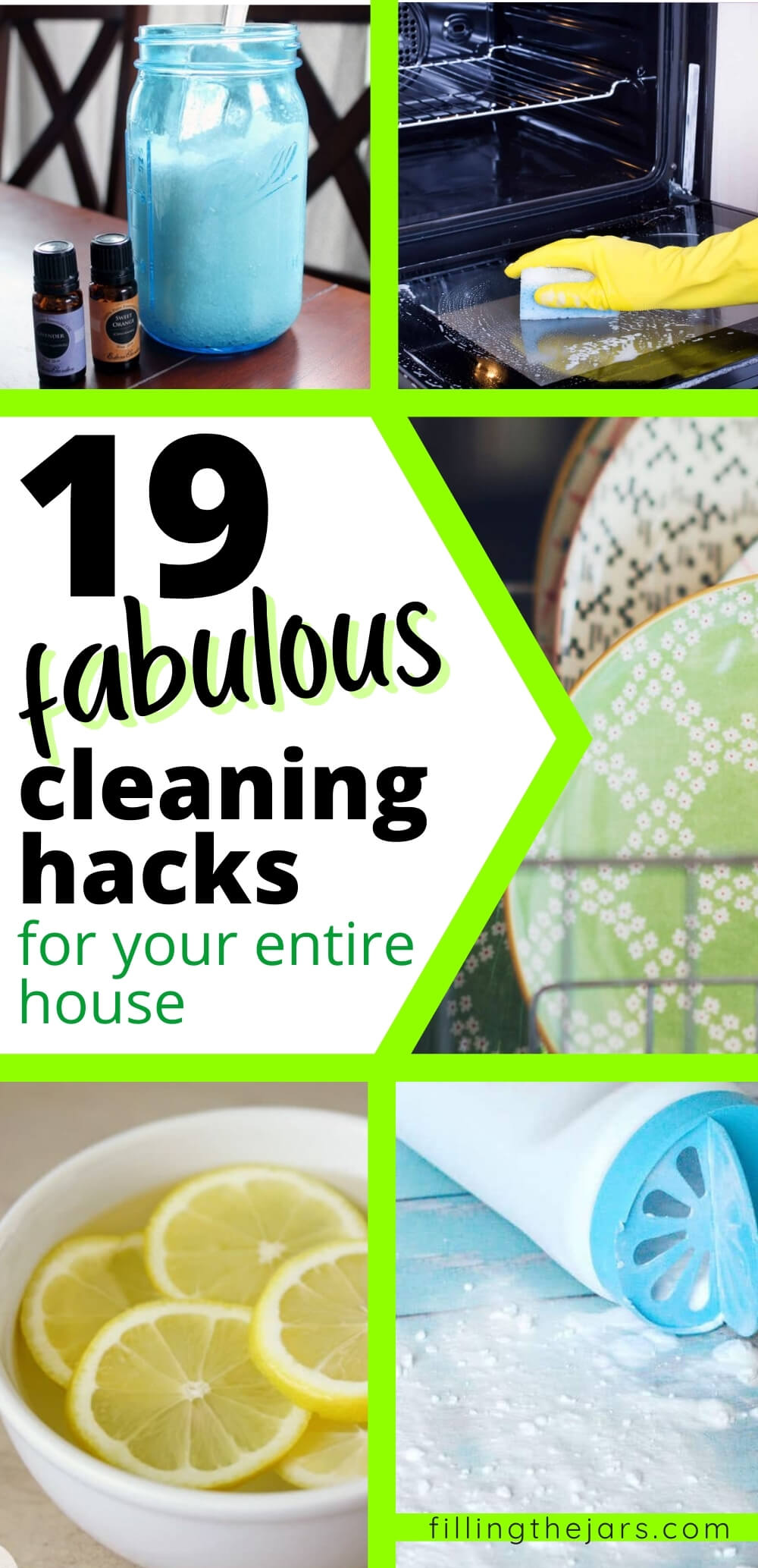 Collage image of cleaning hacks and tips.
